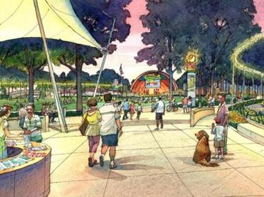 The illustration suggests a vision for the Charles River Esplanade near the Hatch Shell.